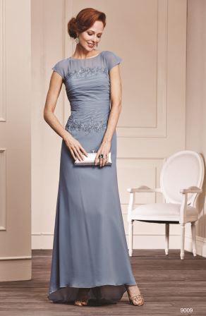 Fashion forward, chiffon, mother of the bride dress.