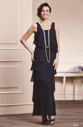 Fashion forward, chiffon, mother of the bride dress.