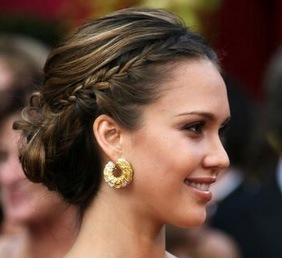 Wedding Hairstyle Braided Chignon Jessica Alba